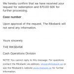 スウェーデンの古いお金を交換して銀行から返信&振り込み②